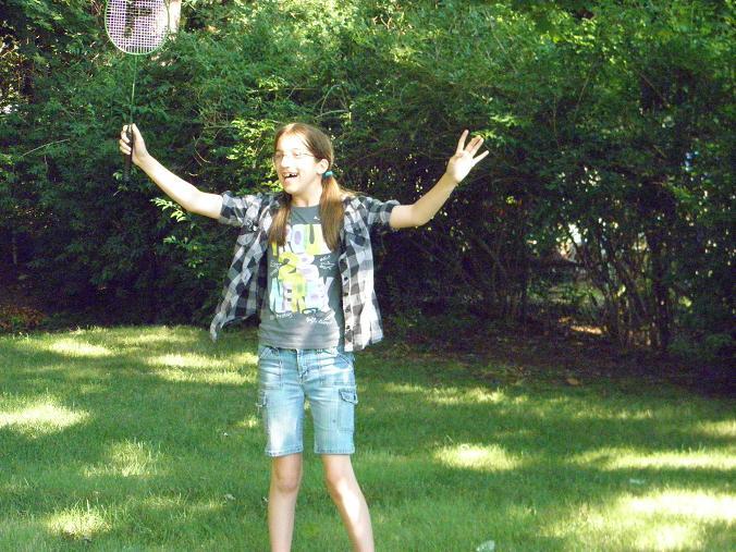 Emily playing badminton