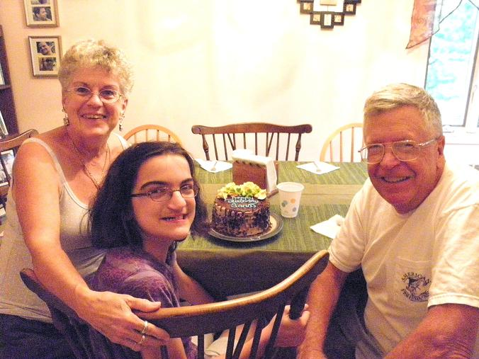 Great-aunt Nancy and Great-uncle Ken with Sarah's b'day cake