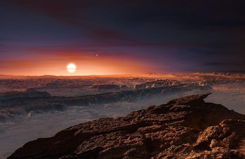 Восприятие художника о планете, вращающейся вокруг Проксимы Центавра