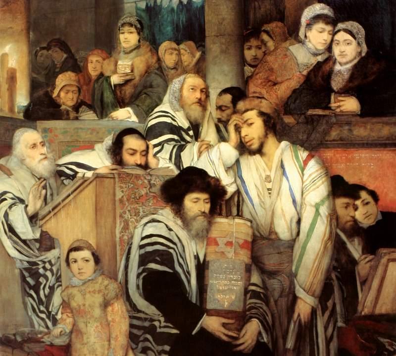 Евреи в синагоге в Судный день: картина Мауриция Готлиба, 1878