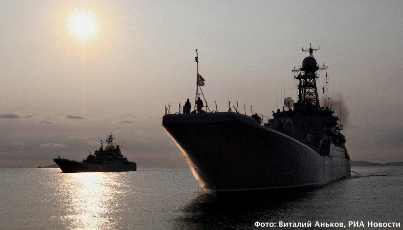 Большой десантный корабль подходит к мысу Клерка. Фото: Виталий Аньков, РИА Новости