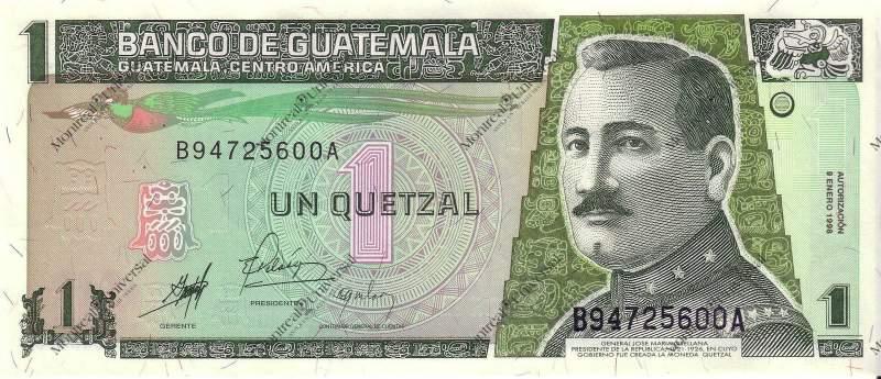 1 гватемальский кецаль. Печатается в Москве на проспекте Мира
