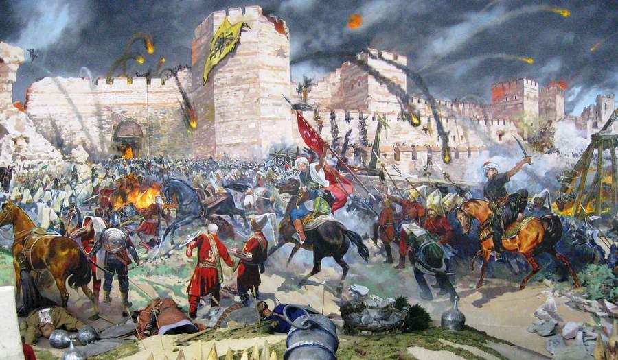 Падение Константинополя. На первом плане — бомбарда Урбана