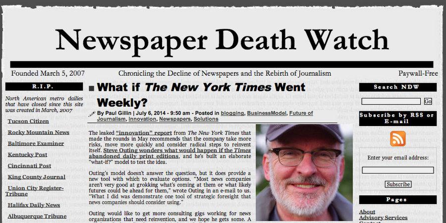 Newspaper Death Watch