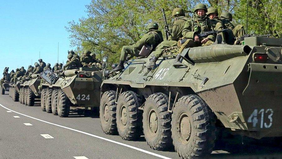 Российские добровольцы на границе Украины