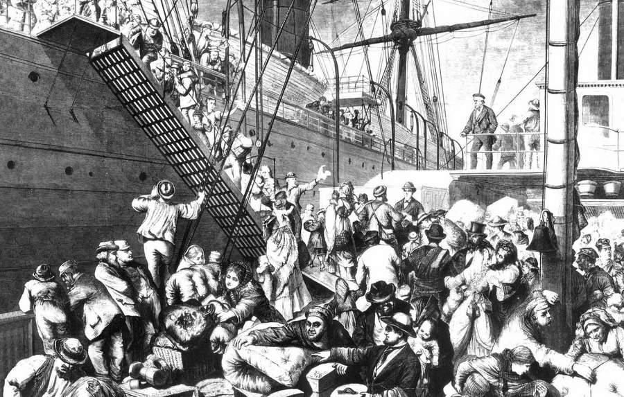 Немцы уезжают из Гамбурга в Америку, 1874 год
