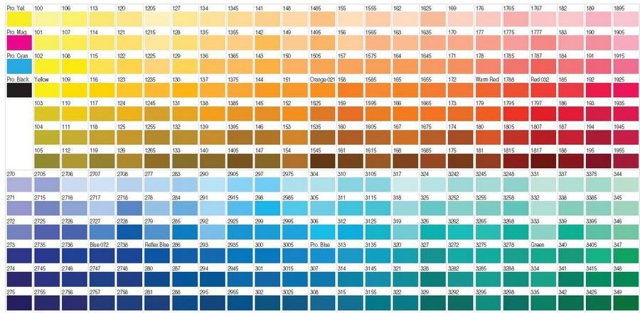 Таблица экстремистских цветов Pantone, фрагмент