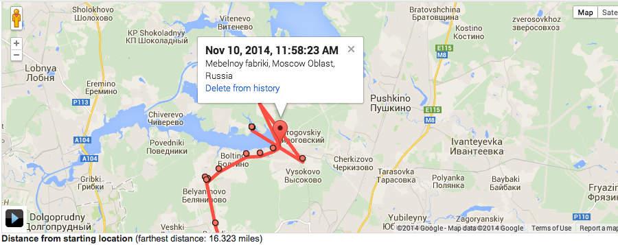 Карта моих перемещений, по версии Гугла
