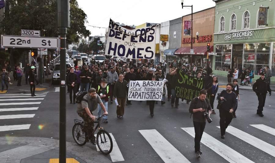 Демонстрация в Сан-Франциско против джентрификации Mission