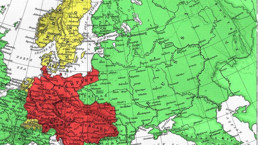 Карта Европы 1914 года