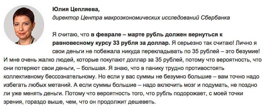 Прогноз Юлии Цепляевой