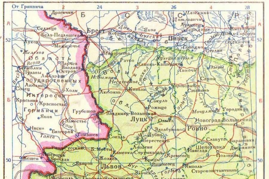 Советская карта Польши и Украины
