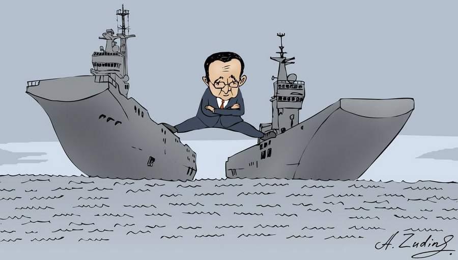 Олланд и Мистрали, карикатура А. Зудина