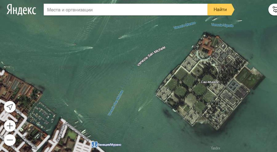Венеция на карте Яндекса