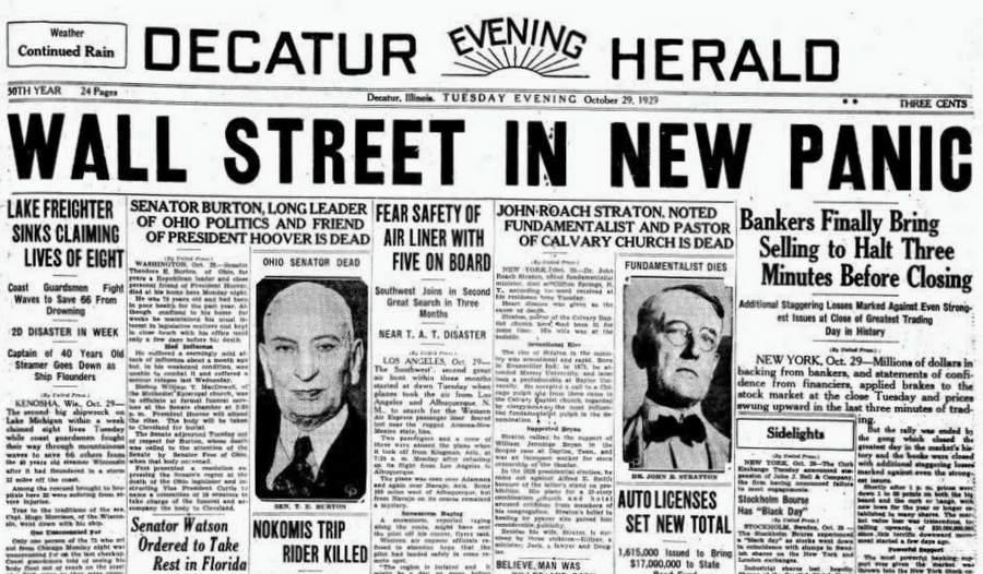 Обложка газеты с новостями про биржевой крах 1929 года