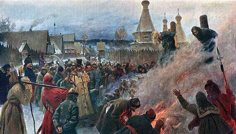 Сожжение протопопа Аввакума, картина художника Мясоедова