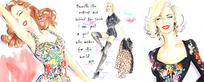 Мэрилин Монро в Dolce&Gabbana FW13, иллюстрации Дженнифер Лиля