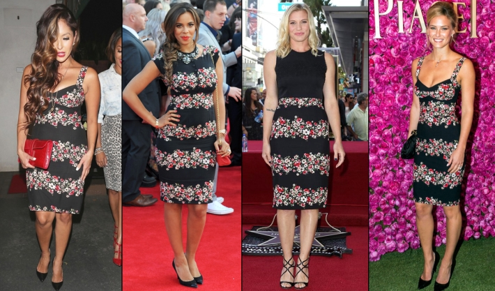 dolce-and-gabbana-fall-winter-2014-poppy-print-dresses-on-celebrities-like-bar-refaeli-katee-sackhoff-rochelle-humes-vanessa-bryant