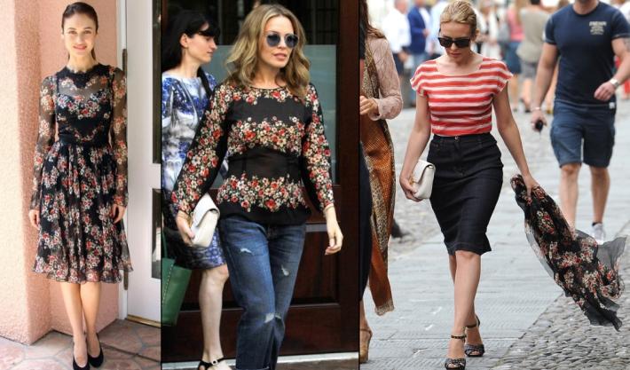dolce-and-gabbana-fall-winter-2014-poppy-print-dresses-on-celebrities-like-kylie-minogue-olga-kurylenko