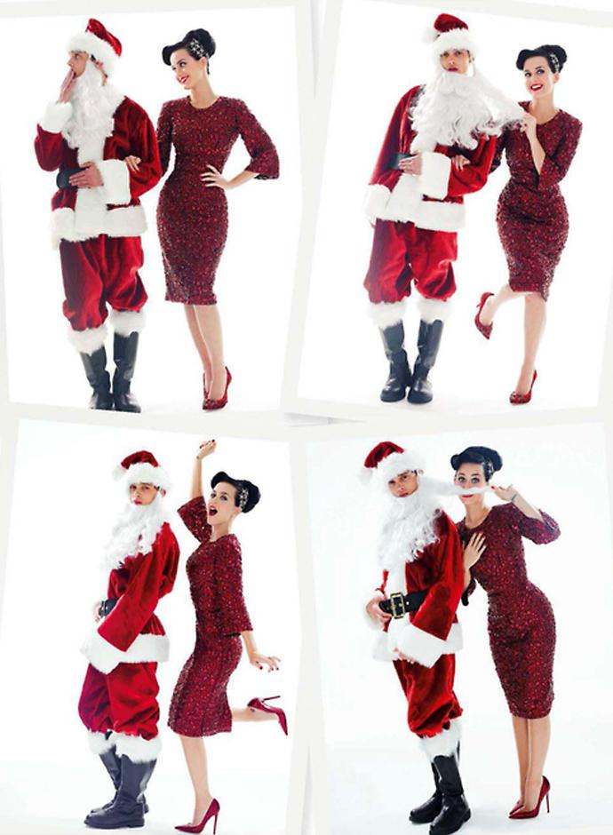 Кэти Перри в красном платье Dolce&Gabbana для декабрьского номера Glamour UK