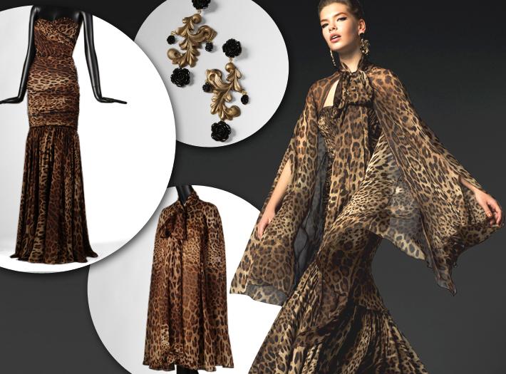 Вечерняя одежда Dolce&Gabbana FW13, леопардовое платье