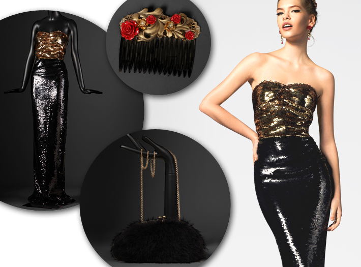 Вечерняя одежда Dolce&Gabbana FW13, блестки