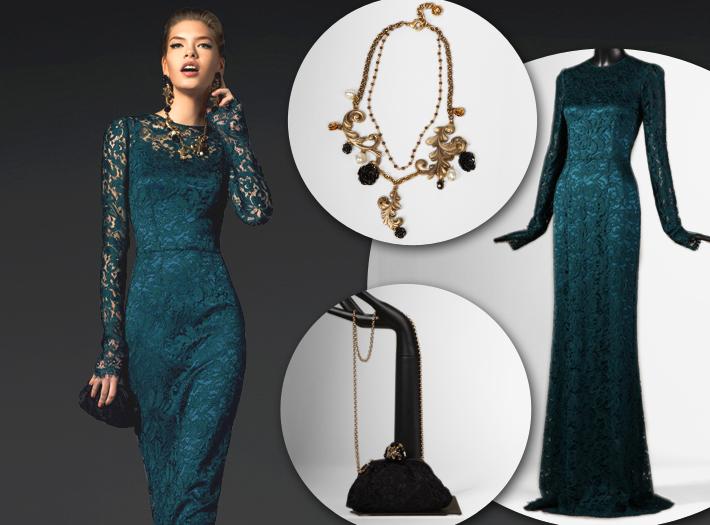 Вечерняя одежда Dolce&Gabbana FW13, кружевное платье