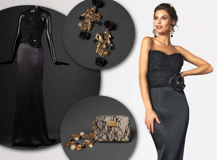 Вечерняя одежда Dolce&Gabbana FW13, атласное платье