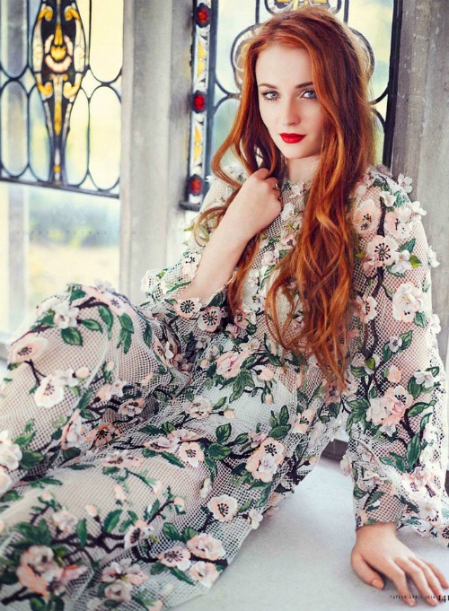 sophie-turner-photos-in-dolce-and-gabbana-spring-summer-2014-almond-flowers-dress-tatler-uk