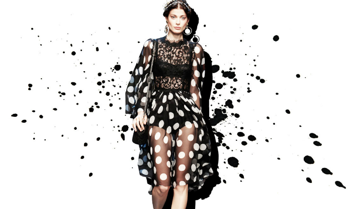 dolce-and-gabbana-polka-dot-dresses-for-spring-summer-2014-lace-and-chiffon-polka-dots-print-full-skirt-dress