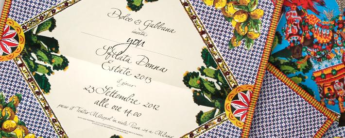 Приглашение на модный показ Dolce&Gabbana SS13