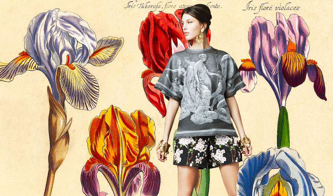 1 look-of-the-day-dolce-and-gabbana-spring-summer-2014-womenswear-greek-god-print-blouse-and-almond-blossom-print-shorts-1124x660-cover