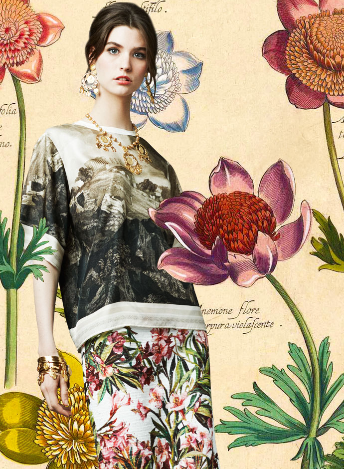 look-of-the-day-dolce-and-gabbana-spring-summer-2014-womenswear-litography-print-silk-top-and-oleander-print-skirt