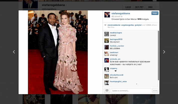 best-celebrity-instagram-pictures-met-gala-2014-dolce-and-gabbana-sari-mercer-and-chiwetel-ejiofor (710x417)