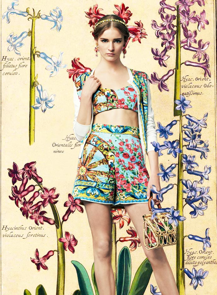 look-of-the-day-dolce-and-gabbana-spring-summer-2014-womenswear-bouganvillea-and-wheel-print-cotton-brocade-shorts-and-bralet