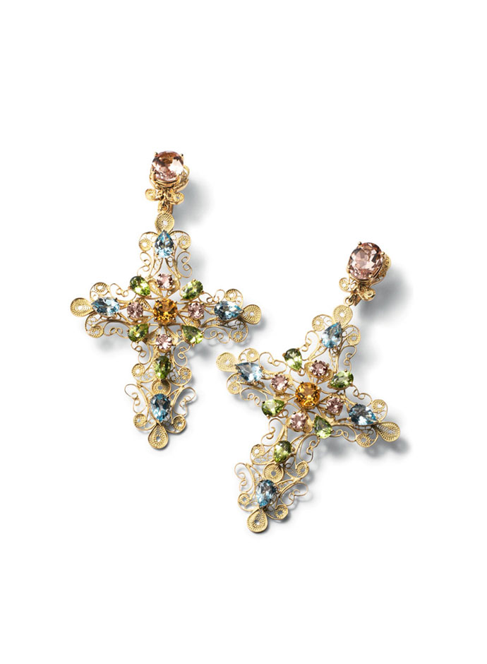 dolce-and-gabbana-jewellery-spring-summer-2014-gold-filigree-and-multi-coloured-gem-collection-cross-shaped-earrings
