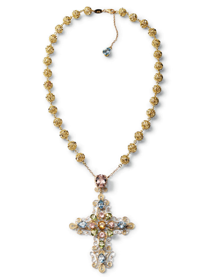 dolce-and-gabbana-jewellery-spring-summer-2014-gold-filigree-and-multi-coloured-gem-collection-necklace-cross-pensant-aquamarines-cross-pendant