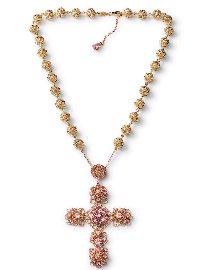 dolce-and-gabbana-jewellery-spring-summer-2014-gold-filigree-and-multi-coloured-gem-collection-necklace-cross-pensant-tourmaline