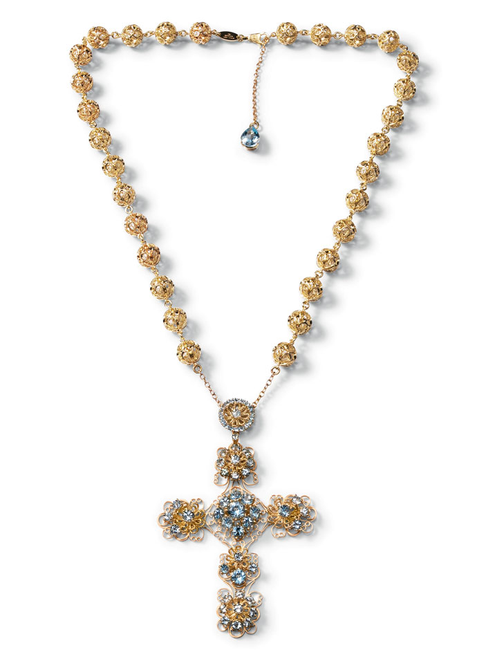 dolce-and-gabbana-jewellery-spring-summer-2014-gold-filigree-and-multi-coloured-gem-collection-necklace-cross-pensant-aquamarines