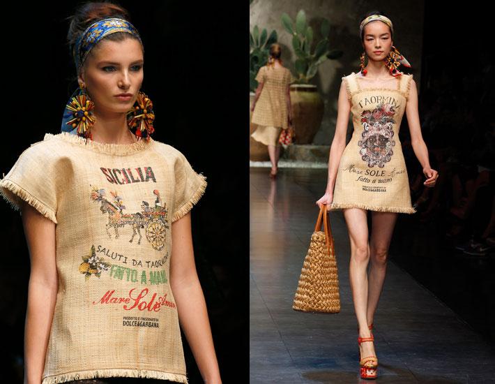 Женская коллекция Dolce&Gabbana SS13, рафия