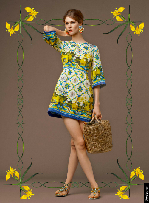 look-of-the-day-dolce-and-gabbana-fall-2014-pre-collection-womenswear-majolica-and-lemons-print-brocade-dress