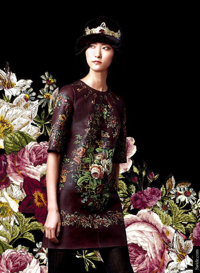 dolce-and-gabbana-fall-winter-2014-2015-collection-floral-printed-leather-dress