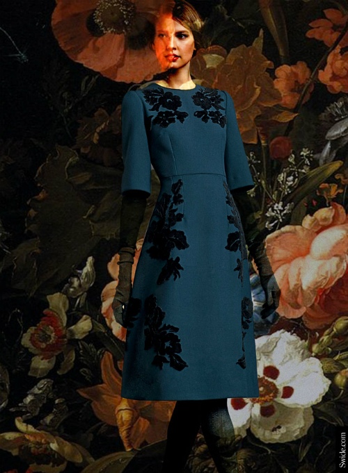 dolce-and-gabbana-fall-winter-2014-15-floral-embroidery-blue-dress