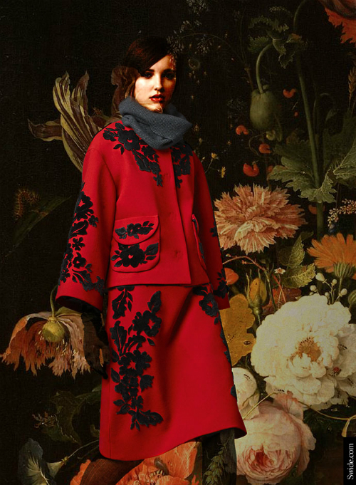 dolce-and-gabbana-fall-winter-2014-15-floral-embroidery-red-suit