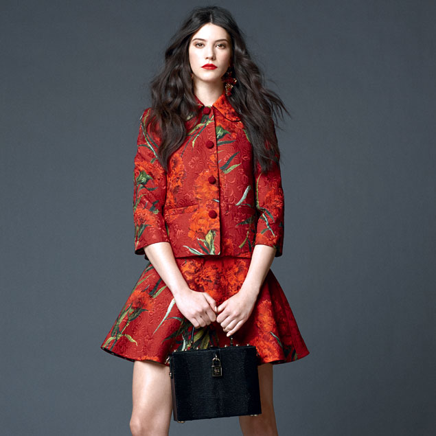 dolce-and-gabbana-spring-summer-2015-preview-shop-online-the-looks-carnations-print-red-brocade-suit