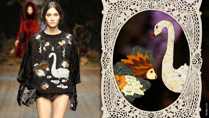 dolce-and-gabbana-fall-winter-2014-15-patchwork-swan-and-hedgehog-embroidered-dress (710x401)