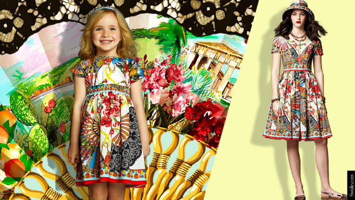 mother-and-daughter-matching-dresses-ideas-dolce-and-gabbana-ss-2015-fan-print-outfits-04