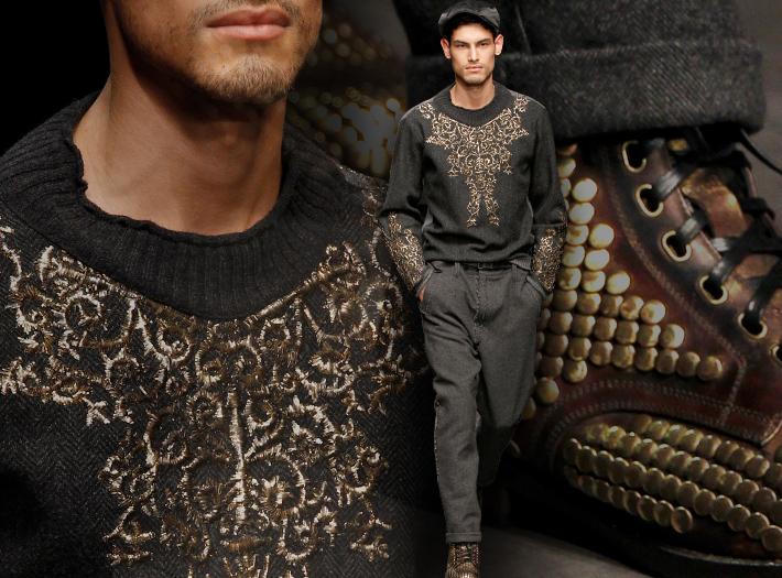 Мужская коллекция Dolce&Gabbana FW13, расшитый джемпер