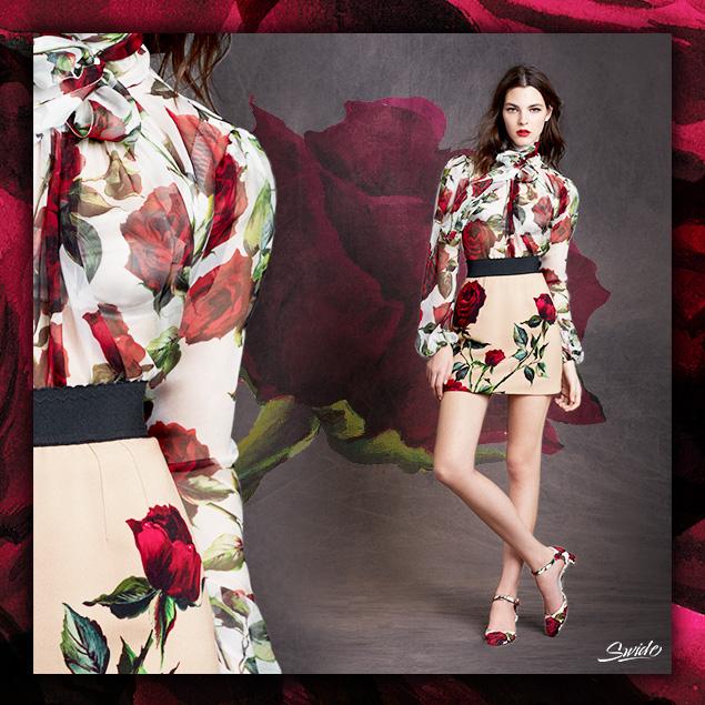 Блузка дольче габбана с розами
