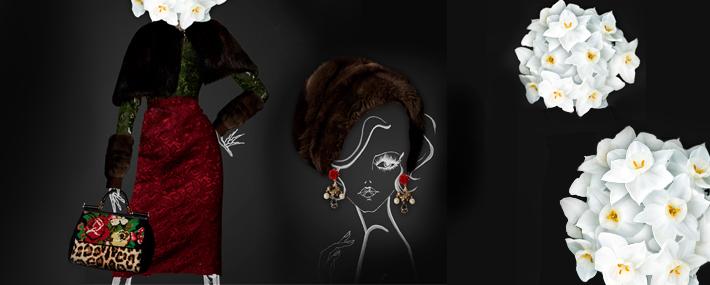 Dolce&Gabbana FW13, меховой кейп и юбка-карандаш